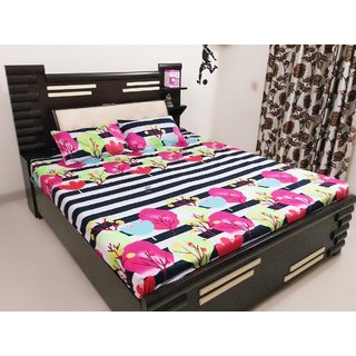 Amayra 3d Warm Double Bedsheet With 2 Pillow Covers, Multi Floral