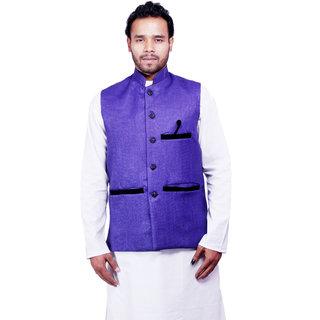 DEPLO Blue Cotton Men's Nehru Jacket