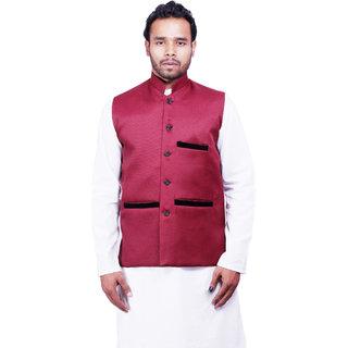 DEPLO Maroon Cotton Men's Nehru Jacket