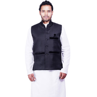 DEPLO Black Cotton Men's Nehru Jacket