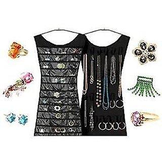 AVMART Wall Hanging Dress Shape Two Sided Women Jewellery Accessories Organizer (Black)
