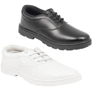 D DASS Boys School Shoes Black White