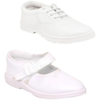 Ddass WHT Boy&Girl School Shoes