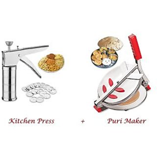 Rewa Special Offer Combo of Puri Maker / Press Stainless Steel Kitchen Press with 15 Different Jalis