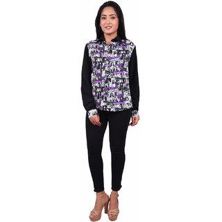 RIVI Designer Black Polyester Full Sleevess Button Down Women's Top (RV004)