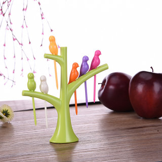 Birdie Fruit Fork Set with Stand 6-Pieces Multicolour
