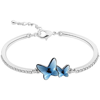 Om Jewells Rhodium Plated Delicate Blue Twin Butterfly Bangle Bracelet  Enriched with White Crystal made for Girls and