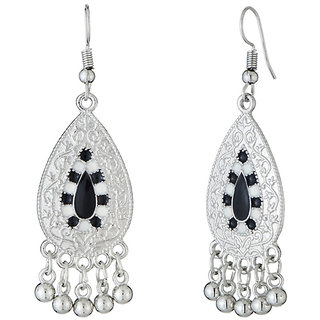 JewelMaze Rhodium Plated Black And White Meenakari Afghani Earrings