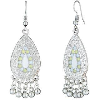 JewelMaze White Meenakari Rhodium Plated Afghani Earrings