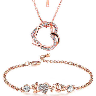 Om Jewells Rose Gold Valentine Jewellery Combo of Heart Pendant with LOVE Link Bracelet for Girls CO1000086