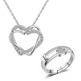 Om JeweRhodium Platted Combo of Crystal Heart in Heart Pendant and Adjustable Double Heart Ring for Girls CO1000101