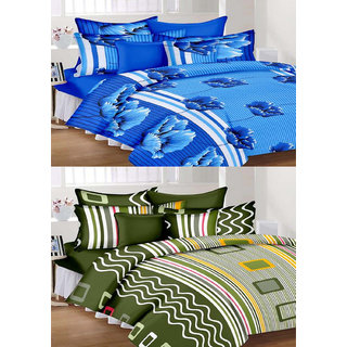 WI International Beautiful Cotton Printed Set Of Two Double Bed Sheet With Four Pillow Cover