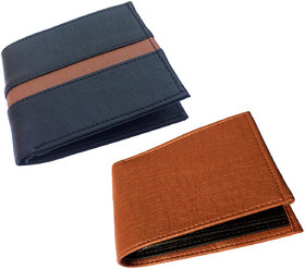 Set of Two Men Brown Artificial Leather Wallet