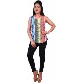 RIVI Designer Multi-Coloured Cotton Sleevesless Button Down Women's Top (RV023)