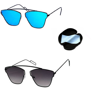 ef22df99e46c Buy Combo Of Lee Topper Stylish UV Protected Light wight Metal Aviator Unisex  Sunglasses Online - Get 82% Off