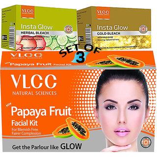 VLCC Papaya Facial Kit + Insta Glow Herbal Bleach + Gold Bleach (Set of 3)