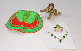 Laddu Gopal / Ladoo Gopal / Bal Gopal / Bal Krishna (6 cm Height) - Idol ( Pure Brass Material ) with dress mukut mala