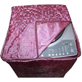 Mehroon Colour With Square Design Top Load Washing Machine Cover