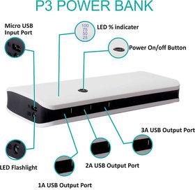 OMNITEX p3 with 3 usb port 10000 mah power bank (white black)
