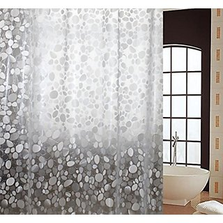Khushi Creation Pebbles PVC Bath Shower Bathroom Curtain With 8 Hooks Waterproof 52 Inches