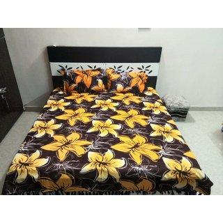 Woolen Double Bedsheet with 2 pillow covers Floral Design with fablous fabric