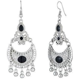 JewelMaze Black Meenakari Rhodium Plated Afghani Earrings