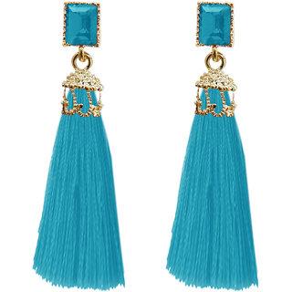 JewelMaze Gold Plated Blue Thread Earrings