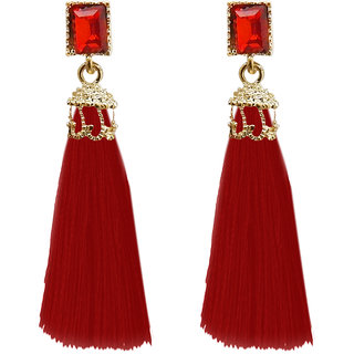 JewelMaze Gold Plated Red Thread Earrings
