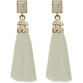JewelMaze Gold Plated White Thread Earrings