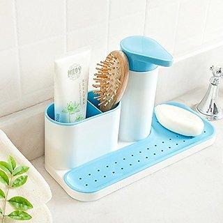 AVMART 3 In 1 Kitchen Sink With Liquid Soap Dispenser Cleaning Cloth  Holder, Dishwasher Liquid, Brush Soap Holder Blue