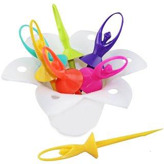 Rewa Dancing Dolls Fruit Forks 6 Pcs With Fork Stand Multicolor