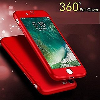 BRAND FUSON 360 Degree Full Body Protection Front Back Case Cover (iPaky Style) with Tempered Glass for VIVO Y21 (Red)
