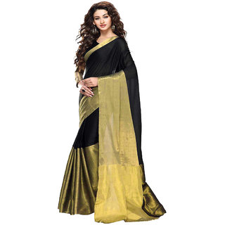 Meia Black Chanderi Self Design Saree With Blouse