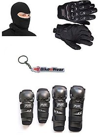 Combo Pack For Fox Knee  Elbow Guard +Gloves Black-XXL+Face Mask With Key Chain