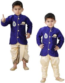 JBN Creation Kids Indowester Sherwani Suit Dress with Jodhpuri Breedges and Dhoti Combo Set of Three For Boys (Color: Blue & Gold)