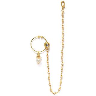 Rubans Kundan Nath with White Pearls