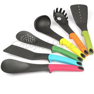 Godskitchen Nylon 6 Pcs Gadget Nylon Slotted Spatula Spoon Cooking Cookware Utensils Kitchen Tool Tableware Spoons