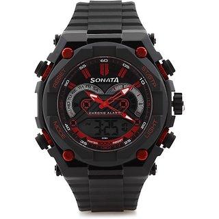 Sonata NH77030PP01J Superfibre Ocean III Analog-Digital Watch