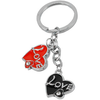a3e7226ab9b Faynci Unique Red Black Heart Shape with crystal Keychain for Birthday  Gift, Friendship Gift