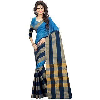 Rite Creations Blue  Color Cotton  Saree -RI111_S_SkyBlue1
