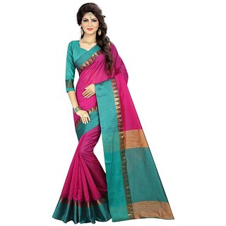 Rite Creations Pink Color Poly Cotton  Saree -RI113_S_Pink1