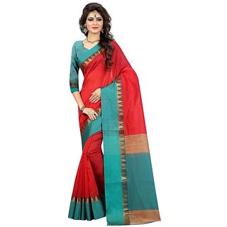 Rite Creations Red  Color Poly Cotton  Saree -RI114_S_Red1