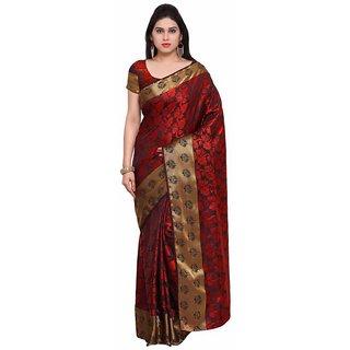 Rite Creations Black Color Nylon silk  Saree -RI116_S_Red1