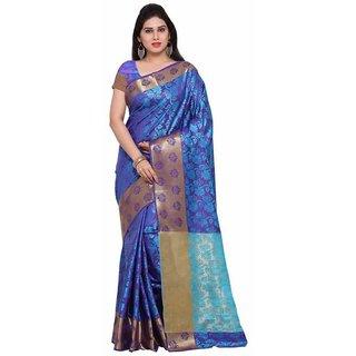 Rite Creations Blue  Color Nylon silk  Saree -RI117_S_Blue1