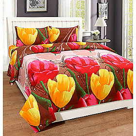 Choco 3D Yelow red Polycotton 00 Double Bedsheet with 2 Pillow Covers Multicolor