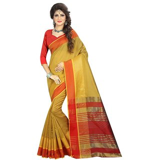 Rite Creations Yellow  Color Poly Cotton  Saree -RI91_S_Yellow1