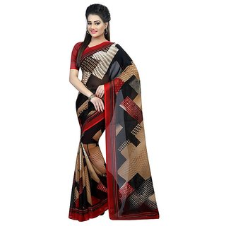 Rite Creations Red  Color Georgette  Saree -RI123_S_chikoo_red1