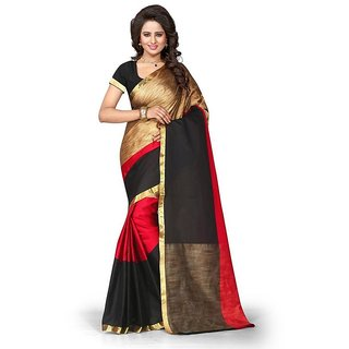 Rite Creations Red  Color Poly Cotton  Saree -RI94_S_Red1