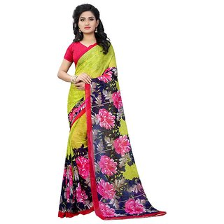 Rite Creations Multicoloured Color Georgette  Saree -RI124_S_Parrot_Print1