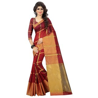 Rite Creations Red  Color Cotton  Saree -RI62_S_Red